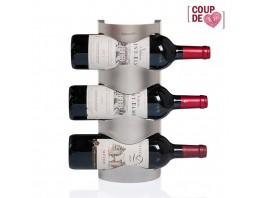 Support inox rangement mural pour 3 bouteilles de vin CASE3