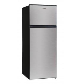 Réfrigérateur 204L net, double porte. Classe A++ compartiment congélateur, 3 clayettes verre, portes coloris inox