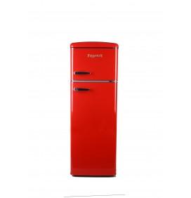 Double porte 245L, gamme rétro, coloris rouge, 4 clayettes en verre