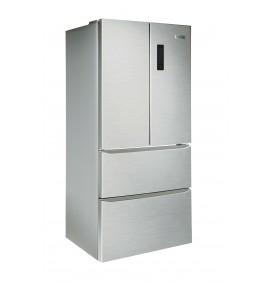 French door 4 portes, 408 litres net, no-frost, classe A++, thermostat électronique intégré à la porte, coloris inox
