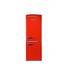 Combiné 244L, gamme rétro, classe A++, coloris rouge, 4 clayettes verre