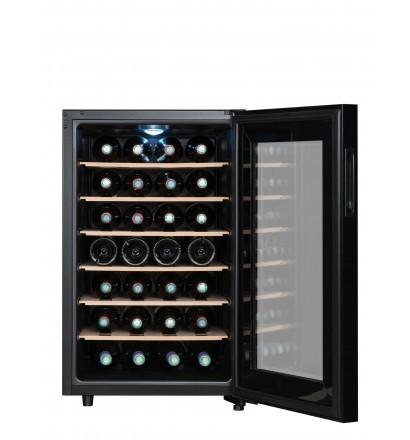 Cave hybride 28 bouteilles ultra silencieuse 26 décibels, 6 clayettes en bois fixes. Porte vitrée. Classe énergétique G. Noir