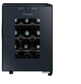 Cave hybride 12 bouteilles ultra silencieuse 26 décibels, Porte vitrée. Classe énergétique G.